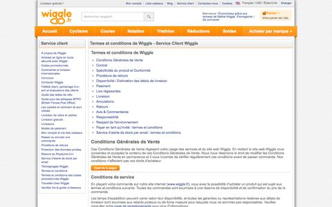 Screenshot of Terms Page wiggle.fr - Wiggle Service client - captured Nov. 4, 2014