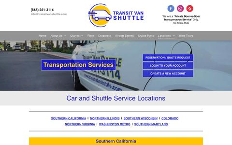 Screenshot of Locations Page transitvanshuttle.com - Shuttle Service | Van and Car Transportation Services | Locations - captured Sept. 23, 2018