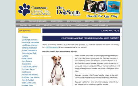 Screenshot of FAQ Page courteouscanine.com - Dog Training FAQ's | Courteous Canine - captured Aug. 26, 2017
