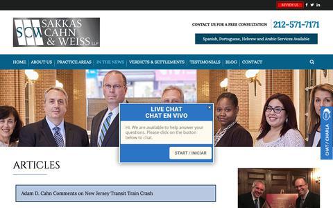 Screenshot of Press Page sakkascahn.com - Articles | Sakkas, Cahn & Weiss, LLP | New York - captured Oct. 2, 2018