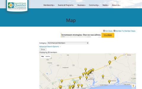 Screenshot of Maps & Directions Page brunswickcountychamber.org - Map - map-publiclayout - Brunswick County Chamber of Commerce, NC - captured Feb. 8, 2016