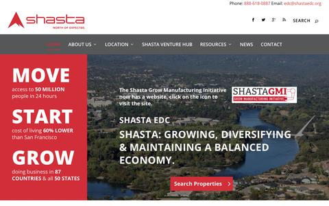 Screenshot of Home Page shastaedc.org - Relocate To Shasta County | Shasta EDC | North of Expected - captured Sept. 27, 2018