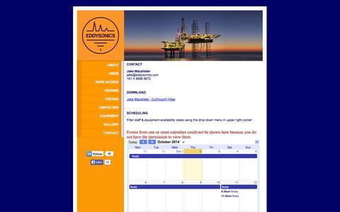 Screenshot of Contact Page eddysonics.com - Eddysonics Pty Ltd - captured Oct. 2, 2014