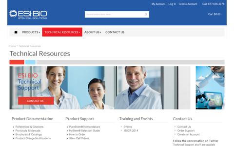 Screenshot of Support Page esibio.com - Technical Resources - ESI BIO scientific protocols, manuals, videos, training and technical support help - captured July 19, 2014