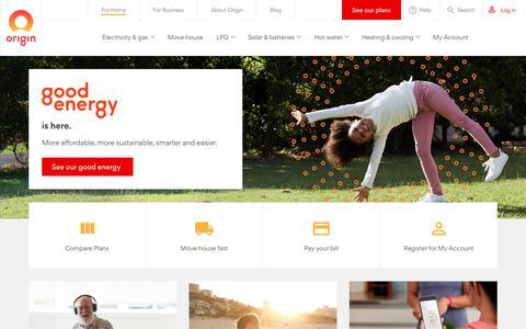 Screenshot of Home Page originenergy.com.au - Electricity providers & gas suppliers - Origin Energy - captured April 23, 2018