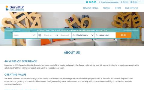 Screenshot of About Page servatur.com - About us   Servatur Hotels   Gran Canaria   Official website - captured Oct. 20, 2018