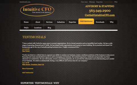 Screenshot of Testimonials Page intuitivecfo.com - Testimonials - Intuitive CFO - captured Sept. 19, 2018