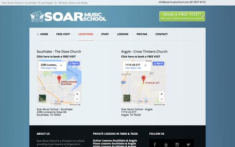 Screenshot of Locations Page soarmusicschool.com - Contact Info for Highest Rated Music School in Southlake TX - captured June 14, 2017
