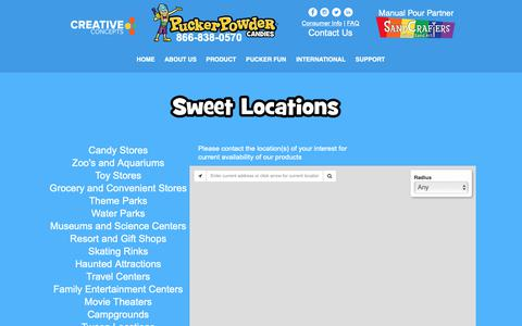 Screenshot of Locations Page puckerpowder.com - pucker-powder | Sweet Locations - captured Nov. 5, 2018
