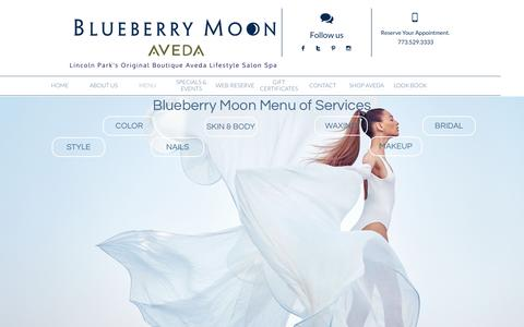 Screenshot of Menu Page blueberrymoon.com - Blueberry Moon Menu Of Services. - captured July 29, 2016