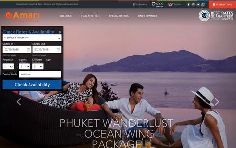 Screenshot of Home Page amari.com - Amari Hotels & Resorts - Colours and Rhythms of Modern Asia - captured Oct. 2, 2015