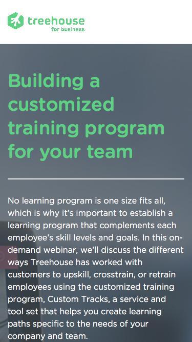 Building a customized training program   Webinar Series