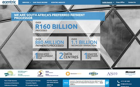 Screenshot of About Page ecentric.co.za - About Us | Ecentric Payment Systems - captured Oct. 1, 2014