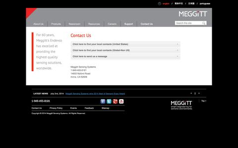 Screenshot of Contact Page endevco.com - Contact Us | Endevco - Meggitt Sensing System | Endevco | Meggitt Sensing Systems - captured Oct. 10, 2014