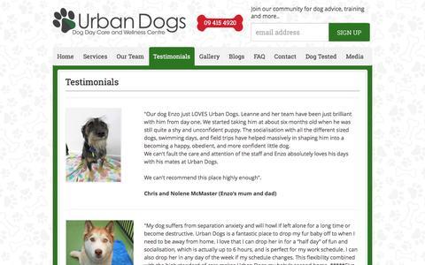 Screenshot of Testimonials Page urbandogs.co.nz - Testimonials - Urban Dogs - captured Aug. 12, 2016