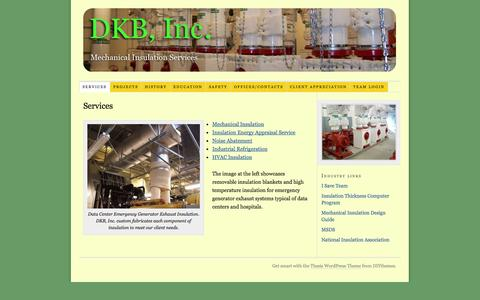 Screenshot of Services Page dkbinc.net - DKB,Inc offers mechanical insulation and construction services to the industrial and commercial industries in the Pacific Northwest - captured Sept. 30, 2014
