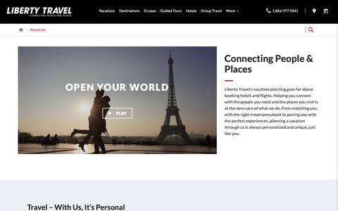 Screenshot of About Page libertytravel.com - About Liberty Travel: Connecting People & Places | Liberty Travel - captured Oct. 19, 2018