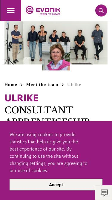 Screenshot of Team Page  evonik.com - Ulrike                                                                - Evonik Careers