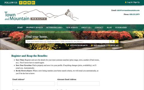Screenshot of Signup Page townandmountain.com - Town and Mountain Realty - captured Nov. 8, 2017