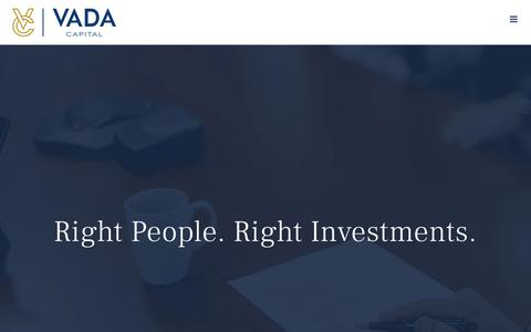 Screenshot of Home Page vadacapital.com - Vada Capital – Private Equity Firm, Calgary AB - captured Oct. 20, 2018