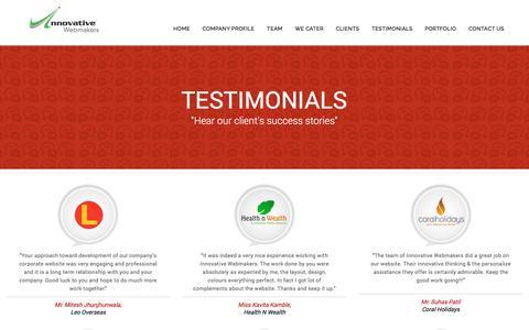 Screenshot of Testimonials Page innovativewebmakers.com - Our Client Testimonials – Innovative Webmakers - captured March 4, 2016