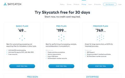 Screenshot of Pricing Page skycatch.com - Skycatch: Drone Image Processing Platform - captured Dec. 22, 2016
