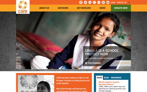 Screenshot of Home Page careindia.org - NGO in India - Women & Girls Health, Education, Empowerment | CARE India - captured July 17, 2015