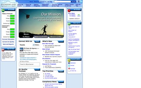Screenshot of Home Page pscleanair.org - Puget Sound Clean Air Agency - captured Oct. 3, 2014