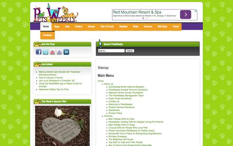 Screenshot of Site Map Page petsweekly.com - Sitemap - captured Nov. 3, 2014