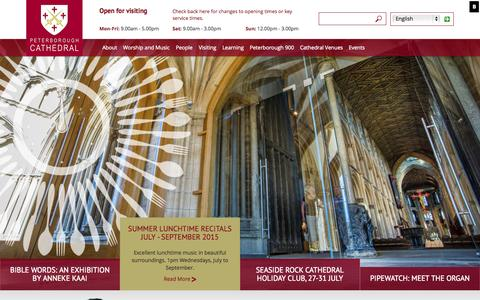 Screenshot of Home Page peterborough-cathedral.org.uk - Peterborough Cathedral - captured July 20, 2015