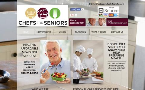Screenshot of Home Page chefsforseniors.com - Chefs For Seniors - captured Oct. 2, 2014