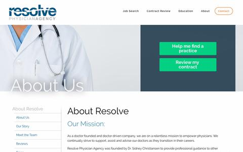 Screenshot of About Page resolvephysicianagency.com - Learn About Resolve Physician Agency - captured June 27, 2017