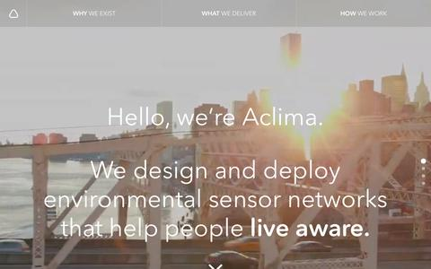 Screenshot of Home Page aclima.io - Aclima | Environmental Sensor Networks | Actionable Insights - captured Nov. 20, 2016