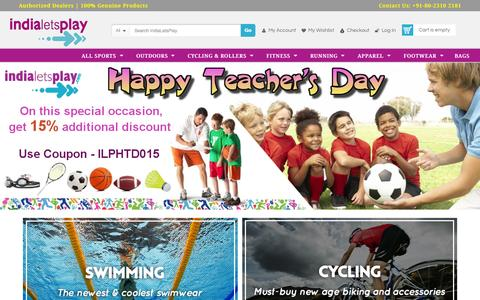Screenshot of Home Page indialetsplay.com - Sports Store India, Buy Sports Equipments Online | IndiaLetsPlay.com - captured Sept. 6, 2015