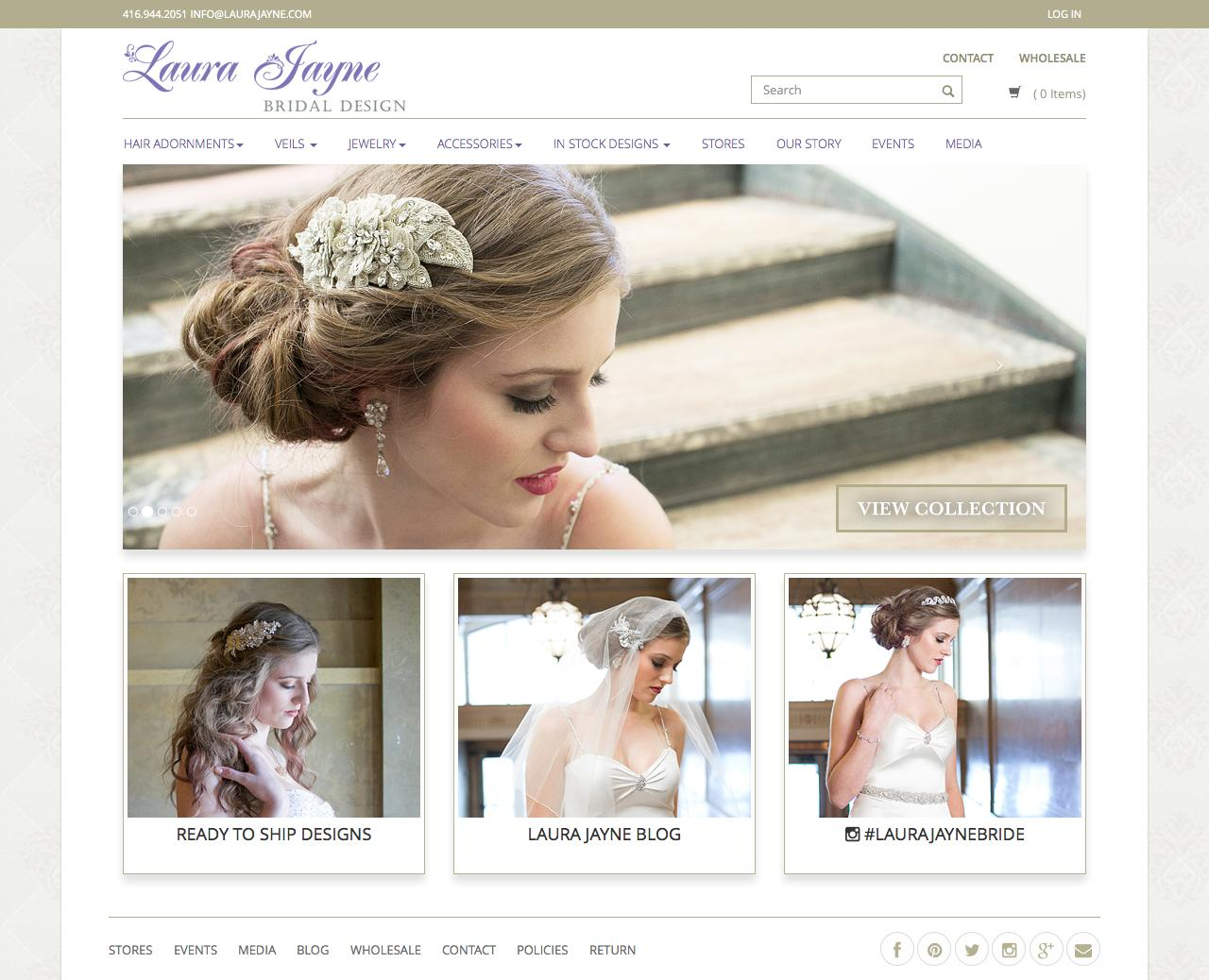 Screenshot of laurajayne.com - Bridal Hair Adornments, Veils, Accessories, Jewelry  - Laura Jayne - captured July 27, 2015