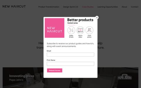 Screenshot of Case Studies Page newhaircut.com - Success Stories with our Customers | New Haircut - captured Oct. 18, 2018