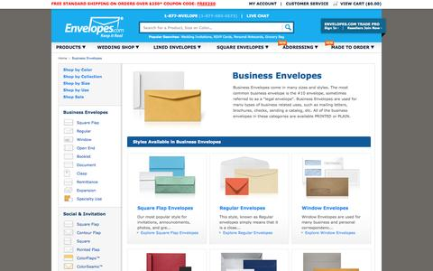 Screenshot of Products Page envelopes.com - Business Envelopes - Booklet Envelopes, Open End Envelopes, Regular Envelopes, Window Envelopes, Remittance Envelopes, Clasp Envelopes - Envelopes.com - captured Oct. 10, 2014