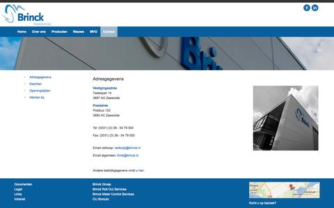 Screenshot of Contact Page brinck.nl - Contact - Brinck Meettechniek - captured Oct. 5, 2014