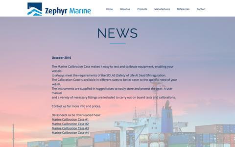 Screenshot of Press Page zephyr-marine.dk - home | NEWS - captured Dec. 12, 2016
