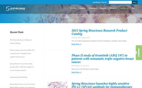 Screenshot of Press Page springbio.com - Spring Bioscience News & Events - captured Nov. 15, 2017