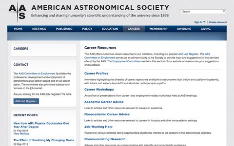 Screenshot of Jobs Page aas.org - Careers   American Astronomical Society - captured Nov. 20, 2016