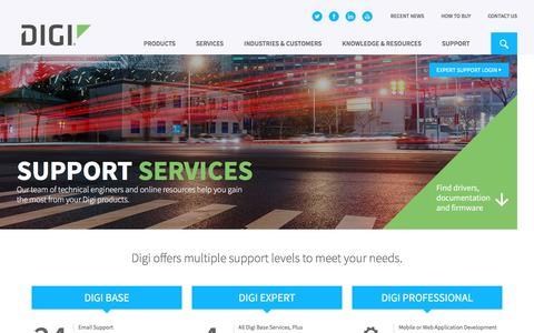 Screenshot of Support Page digi.com - Support Services - Digi International - captured Jan. 15, 2017
