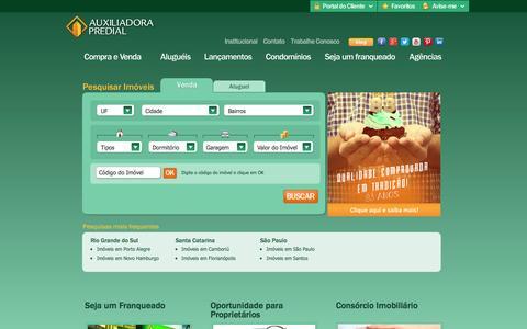 Screenshot of Home Page auxiliadorapredial.com.br - Compra, Venda e Aluguel de Imóveis - Imobiliária Auxiliadora Predial - captured Sept. 19, 2014