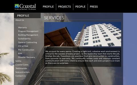 Screenshot of Services Page coastalconstruction.com - Services | Coastal Construction - captured Oct. 3, 2014