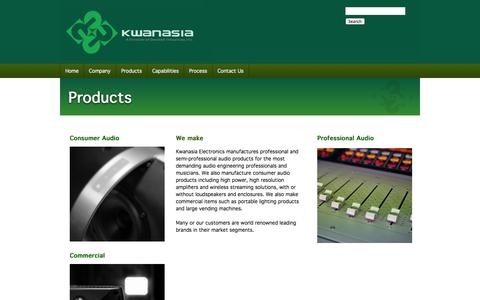 Screenshot of Products Page kwanasia.com - Kwanasia Electronics :: Consumer Audio : Pro Audio: Commercial Products : Manufacturer :: Products - captured Oct. 6, 2014