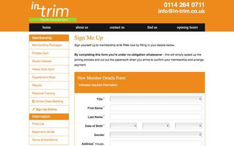 Screenshot of Signup Page in-trim.co.uk - Sign-up for Membership Online - captured Nov. 26, 2016