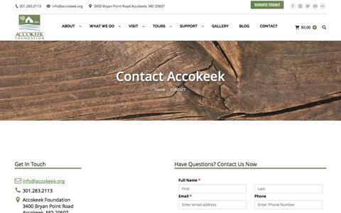 Screenshot of Contact Page accokeekfoundation.org - CONTACT – Accokeek Foundation - captured July 24, 2016