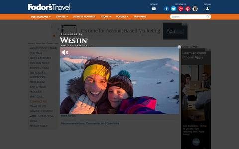 Screenshot of Contact Page fodors.com - Contact Information | About Us | Fodor's Travel - captured Dec. 3, 2015