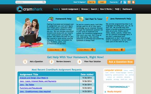Screenshot of Home Page cramshark.com - Programming Homework Help & Online Tutoring   CramShark - captured Sept. 30, 2014