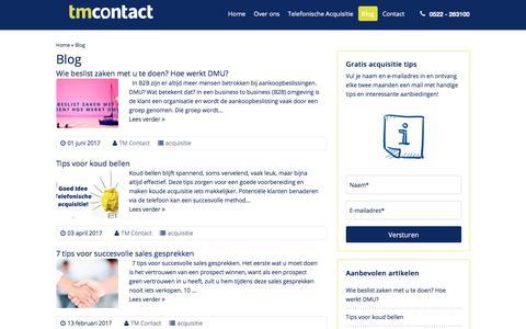 Screenshot of Blog tmcontact.nl - Acquisitie blog - TM Contact - Koude Acquisitie - B2B - Leadgeneratie - captured June 16, 2017